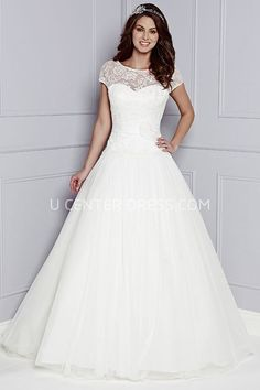 23d8ce3a51 A-Line Short-Sleeve Lace Floor-Length Scoop-Neck Tulle Lace Wedding Dress  With Flower