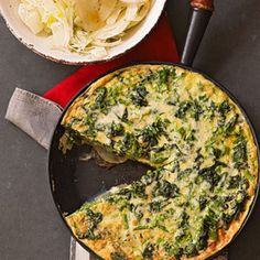 Broccoli Rabe Frittata with Fennel Salad This fluffy frittata is a breakfast with a veggie boost. Do-ahead tip: Make the frittata one day ahead and serve it at room temperature. Easy Egg Recipes, Easy Dinner Recipes, Gluten Free Recipes, Healthy Recipes, Healthy Dinners, Yummy Recipes, Dinner Ideas, Yummy Food, Breakfast