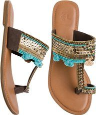 SEQUINED LEATHER TOE RING SANDAL | Swell.com