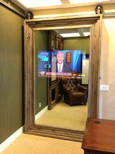 Custom Barn Doors Modern Interior Phoenix Miv Brand The Mirror Is Really Two Way Gl With A Tv Hidden Behind It