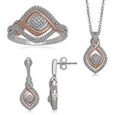 1/10 CT. T.W. Diamond 3-pc. Two-Tone Infinity Jewelry Boxed Set (2 045 UAH) ❤ liked on Polyvore featuring jewelry, 14k jewelry, 14k pendant, long pendant, diamond infinity jewelry and 14 karat gold pendants