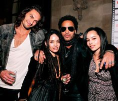 "Jason Momoa, Lisa Bonet, Lenny Kravitz and Zoe Kravitz are ""best friends"" according to the rocker. Credit:"
