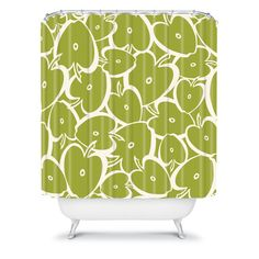 Heather dutton droplets shower curtain home avocado and for Emerald green bathroom accessories