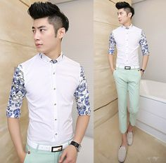 Free Shipping 2014 Brand New Floral Splicing Elegant Men Shirts High Quality Slim Stylish Shirts $24.88 Fashion Shirts, Men Fashion, Design Floral, Elegant Man, Stylish Shirts, Androgynous Fashion, Floral Sleeve, Fashion Project, Men Shirts