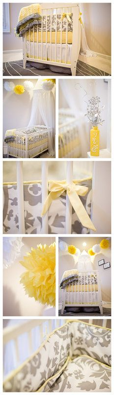 Stunning yellow and grey nursery, Colors could be boy or girl! Baby Bedroom, Nursery Room, Girl Nursery, Girl Room, Nursery Bedding, Grey Yellow Nursery, Nursery Neutral, Nautical Baby Nursery, Baby Nursery Organization