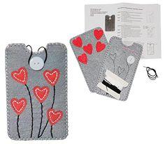 Bastelset: Handytasche / Handyhülle - Smartphone Hülle - Herzen in grau - aus Filz - Gr. L - für Handy bis 7,8 cm breit * 14,5 cm hoch - zum Sticken, Nähen per Hand - Handarbeiten Nähen Handarbeit - für Kinder + Erwachsene - gefilzt / Herz