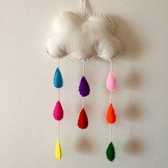 Large Rainbow Rain Cloud Mobile // Felt Plush Children's Nursery Hanging // Home Decor Cloud Mobile, White Rope, Rain Clouds, Hanging Mobile, Rainbow Colors, Hand Stitching, Plush, Felt, Colours