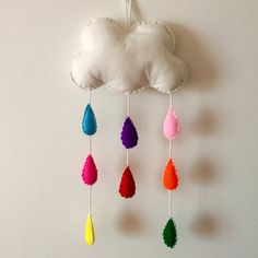 Large Rainbow Rain Cloud Mobile // Felt Plush by StampAndStitch