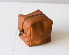 Brown soft Leather makeup bag , leather cosmetics case in brandy - Cube