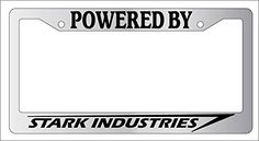 Chrome Powered By Stark Industries License Plate Frame
