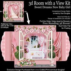 3d Room with a View Sweet Dreams New Baby Girl on Craftsuprint designed by Sue Douglas - This is a stunning card kit from my 3d Room with a View collection, which is very easy to make. This is a really pretty design, for a new baby girl! It features a Nursery, decorated with pale pink and white polka dot wallpaper and a carpeted floor complete with pale pink oval rug with the word BABY on it. There is the new baby girl asleep in her cot and a shelving unit filled with cuddly toys and a train…