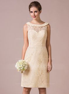 [£ 106.00] Sheath/Column Scoop Neck Knee-Length Lace Bridesmaid Dress (007057754)