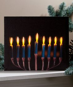 Look what I found on #zulily! Menorah Light-Up Canvas #zulilyfinds