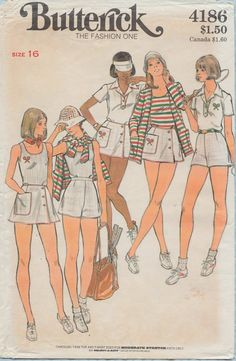 This Butterick sewing pattern was designed in 1976. It makes a tennis skirt , briefs, shorts a tank style top and a cardigan. Size 16: Bust 38