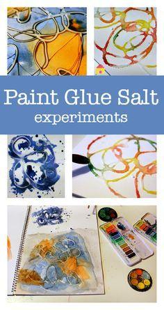 Paint glue salt process art experiments for kids : art project using glue :: watercolour paint projects for kids