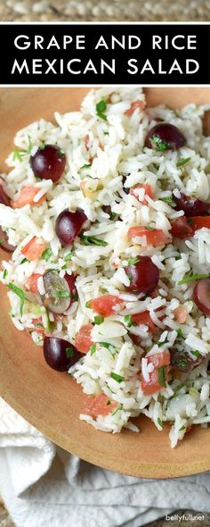 This cold Mexican Rice and Grape Salad is light, healthy, and delicious. Loaded with sweet grapes and robust pico de gallo, it's perfect for summer!
