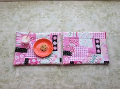 18 inch doll pink butterlfies set of 2 placemats by KjsKwilting, $7.00