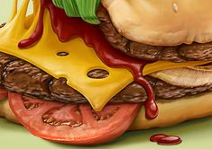 Choose to live healthy - illustration by Oscar Ramos Food Painting, Paintings Of Food, Healthy Dog Treats, Healthy Pizza, Healthy Food, Food Drawing, Dog Recipes, Food Illustrations, Junk Food