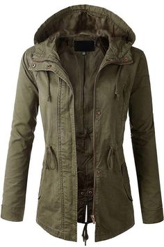 Fashion Boomy Womens Zip Up Military Anorak Jacket W/Hood >>> This is an Amazon Affiliate link. Click image for more details.