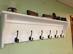 Coat Rack Wood Country Wall Shelf White 48 by appletreewoodcrafts