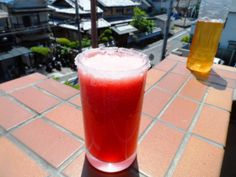 Watermelon, yuzu and iced tea smoothie