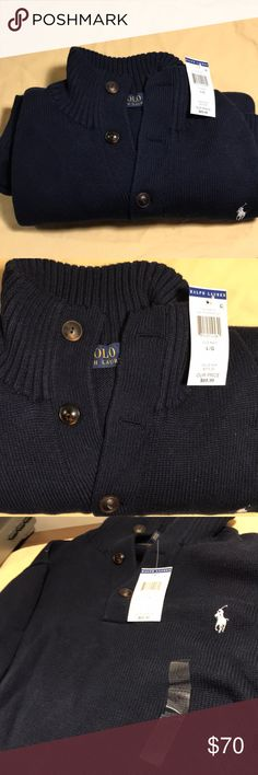 Polo Ralph Lauren Men's 3 Button Mock Neck Sweater 100% Cotton   Embroidered polo pony logo on chest   Ribbed mock neck collar   3-button placket   Ribbed sleeves, cuff and hem Polo by Ralph Lauren Sweaters