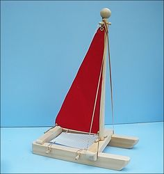 SAILBOAT Red Toy Sailboat Wood Toy Boat Pool Toy Wooden