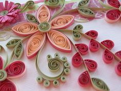 Quilled Flower Greeting Card Pink and Peaches. $7.00, via Etsy.