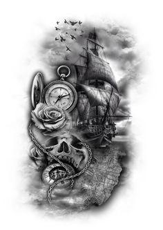 Feather Tattoos for Men – Ideas and Desi… - Tattoo Designs Men Map Tattoos, Skull Tattoos, Tattoo Drawings, Body Art Tattoos, Sleeve Tattoos, Cool Tattoos, Feather Tattoo For Men, Feather Tattoos, Nautical Tattoo Sleeve