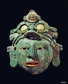 Maya. Jade, coral, shell, greenstone. Mosaic Mask wearing deity headdress. approx ¾ life size