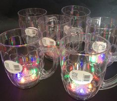 New Years Eve Party Flashing Beer Stein Mug X6 Plastic Never Used LED Party Fun