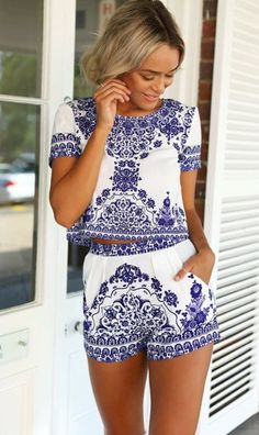 jumpsuit romper dress set top crop tops cropped shirt tees blue print design skirt shorts white ummer summer summer dress summer outfits fall outfit love chanel vogue boho bohemian lace flowers floral
