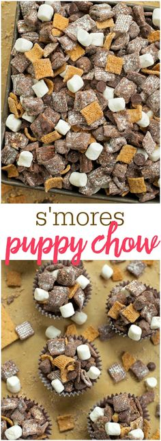 Muddy Buddies S'mores Puppy Chow - filled with chocolate, golden grahams and marshmallows - one of the best treats you'll make!S'mores Puppy Chow - filled with chocolate, golden grahams and marshmallows - one of the best treats you'll make! Puppy Chow Recipes, Snack Mix Recipes, Yummy Snacks, Yummy Food, Snack Mixes, Chex Recipes, Party Recipes, Rice Recipes, Kids Snack Mix
