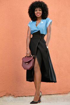 Style Pantry   Wrap Denim Top + Origami Wrap Skirt