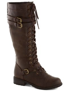 Channeling Classic Boot in Molasses. Youll feel like sailing the straights or navigating a channel in the vintage, steamboat inspiration of these flat, knee-high brown boots. #brown #modcloth
