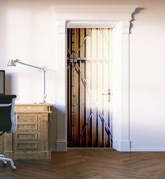 Steel Crate Door Mural Custom Wall Murals, Vinyl Doors, Door Murals, Metallic Paint, Crates, Wall Decor, Steel, Cool Stuff, Design