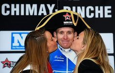 Arnaud Demare (and fantastic hat) on the podium after winning Binche-Chimay-Binche