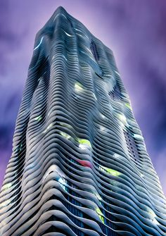 """""""Aqua Building by Night, Chicago"""" by Dave Wilson"""