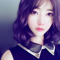 Toka with short hair Manga Girl Drawing, Cute Manga Girl, Anime Girl Drawings, Beautiful Girl Drawing, Ulzzang, Unique Faces, China Girl, Fantasy Paintings, Korean Art