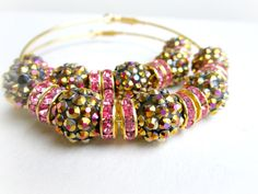 Gold and Fuchsia Hoops