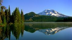 South Sister, Mount Hood, Sparks Lake, Pacific Ring of Fire, Mountain Forest, Oregon, Coniferous Forest, Reflection, Autumn, Snow, No People, Sunshine, Day, Stock Footage,
