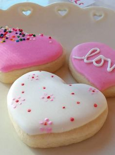Valentine's Day Cookies - Heart Cookies, Two Dozen, Decorated Sugar Cookies, Royal Icing, Made to O Valentines Day Cakes, Valentine Desserts, Valentine Cookies, Valentines Baking, Cupcakes, Cupcake Cookies, Sugar Cookies, Pastry Design, Mother's Day Cookies