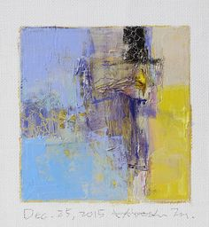 Dec. 25, 2015 - Original Abstract Oil Painting - 9x9 painting (9 x 9 cm - app. 4 x 4 inch) with 8 x 10 inch mat
