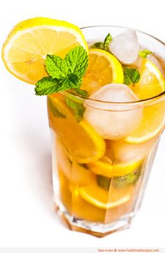 Here's an iced tea drink that's just right for kids and adults, getting its zip from fruit slices and fresh mint. #recipe
