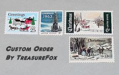 Reserved Custom Order for bandelkite .. Custom order of vintage postage stamps with a Blue Christmas theme for mailing Christmas cards. Sold at Etsy by TreasureFox