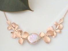 Rose Gold Necklace Pearl Necklace Statement by Crystalshadow