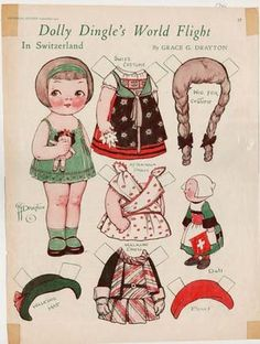 """Lovely heart things, """"Fabrics coupons to the famous Dolly Dingle Paper doll and her friends"""" Paper Dolls Book, Vintage Paper Dolls, Paper Toys, Paper Crafts, Scrapbook Expo, Paper Dolls Printable, Kewpie, Doll Crafts, Illustrations"""