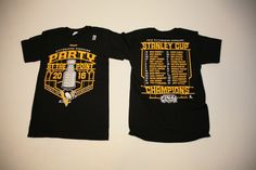Reebok 2016 Pittsburgh Penguins Stanley Cup Champions Tshirt Mens Small