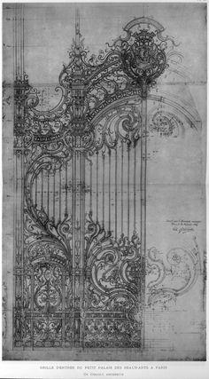 claudiablonde:  Girault's design for the cast iron door of the Petit Palais, Paris