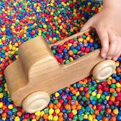 The Grimm's wooden truck has been a firm favourite with my little boy since we gave it to him for his 1st Birthday - 4 years on it still gets played with nearly every day, and has been affectionately named 'I love you truck'. Today it has been off on adventures collecting loads of rainbow chickpeas. We have recently added this wonderful wooden truck, along with it's smaller 'little brother' to our collection of Grimm's toys that we stock here at Little Acorns